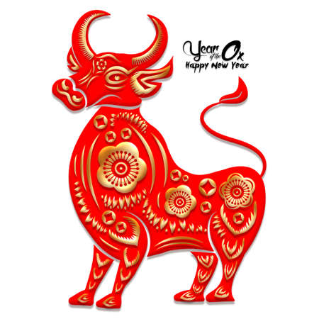 Happy Chinese New Year 2021 year of the ox ,Chinese Zodiac Sign Paper cut gold ox Stok Fotoğraf - 160731937