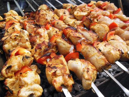 shish kebab: Traditional shish kebab Stock Photo
