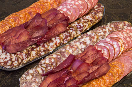 grades: Smoked sausage of different grades and dried meat