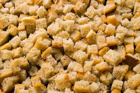 croutons: The small slices of croutons which are just prepared