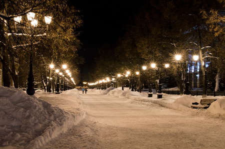 avenues: Avenues of the big city at winter night Stock Photo