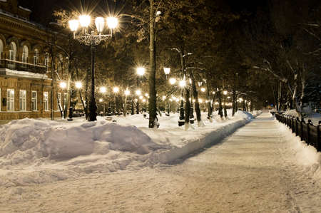 Avenues of the big city at winter night photo