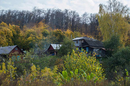 withering: Some small wooden houses in the autumn wood