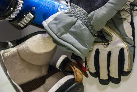Alpine skiing stock: helmet, gloves, boots