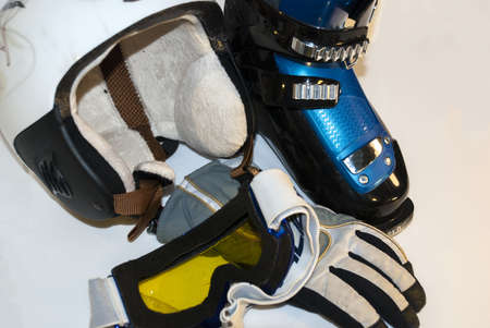 alpine skiing: Alpine skiing stock: points, helmet, gloves, boots
