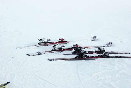 Two couples of mountain skis on snow