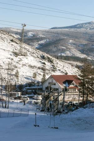 Administrative office of ski resort during the high season Stock Photo