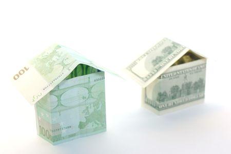 100 dollars and euros house Stock Photo - 2190172