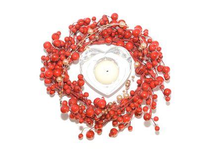 bougie coeur: Heart bougie cadre isol� sur blanc