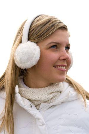 careless: Smiling beautiful girl in ear muffs