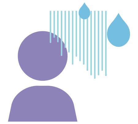 Emotional expression of cold sweat and bad feeling. Isolated vector illustration.