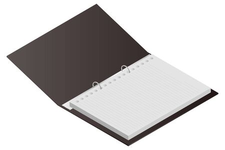 Bound Notebook Papers Isolated Vector Illustration.