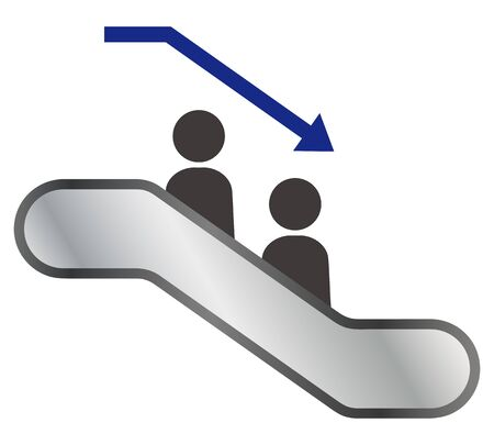 Isolated illustration of simple escalator
