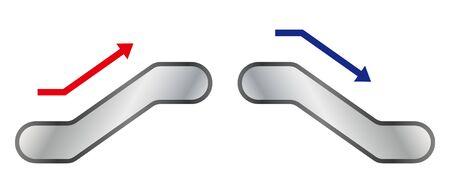 Isolated vector illustration of simple escalators