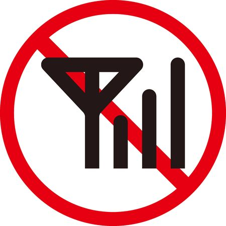 Prohibited symbol of network connection. Isolated vector image.