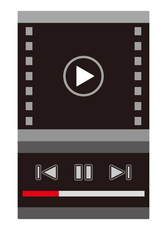 media player screen in mobile display  イラスト・ベクター素材