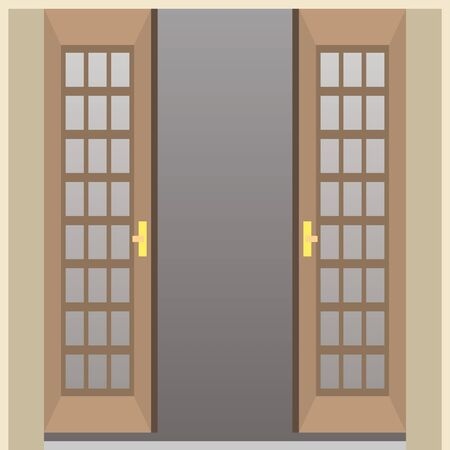 Simple illustration of brown door
