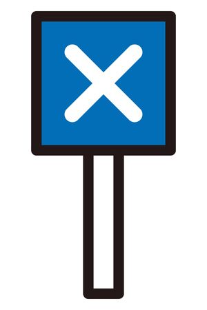 Cross mark written on signboard to answering multiple choice question. Isolated vector icon. Çizim