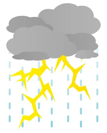 Isolated vector illustration of thunderstorm.