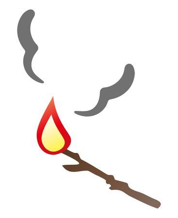 Burning Tree Branch Isolated Vector Illustration.