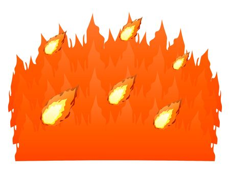 A sea of flames isolated vector illustration. Illustration