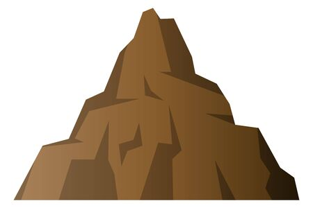 Brown Rocky Mountain Isolated Vector Illustration.