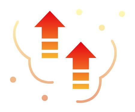 Up arrows isolated vector icon. Temperature rise image.
