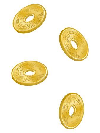 Illustration of Japanese five yen coins