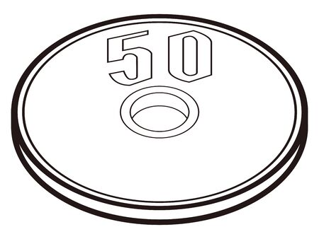 Illustration of Japanese fifty yen coin
