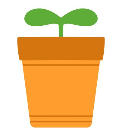 Vector image of green sprout growing in flower pot.