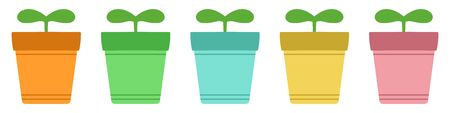 Vector image of green sprouts growing in colorful flower pots.