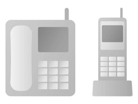 Telephone and Cordless Handset Isolated Vector Illustration. Иллюстрация