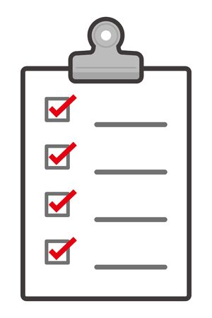 isolated vector illustration of checklist with paper clip 写真素材 - 141246866