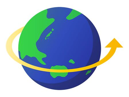 Earth's rotation isolated vector illustration