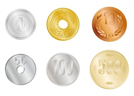 Japanese yen coins isolated vector illustrations set