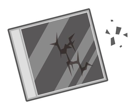 Broken cd case isolated vector illustration. Ilustrace
