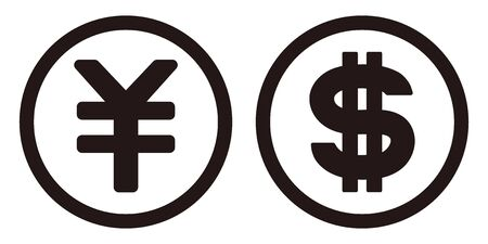 Dollar and yen coins isolated vector icon