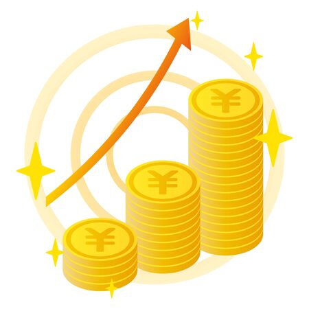 Yen coins with rising arrow Illustration