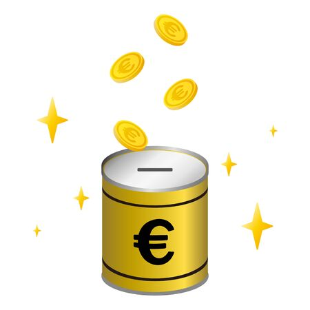 falling euro coins on a piggy bank Ilustrace
