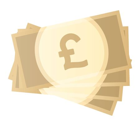 Pound banknotes isolated vector illustration