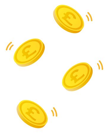 Pound coins isolated vector illustration