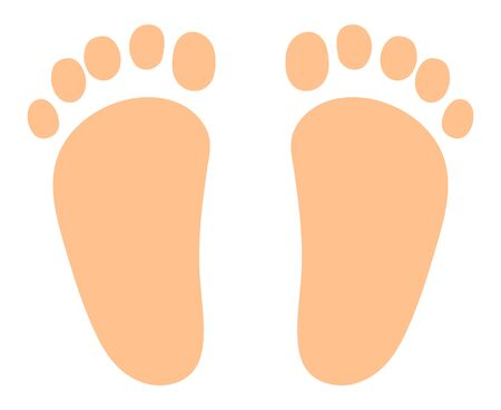 Barefoot foot prints isolated vector illustration