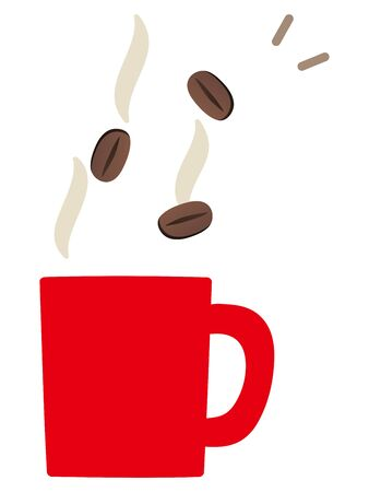 Coffee beans and mug isolated vector illustration