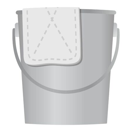 Dust cloth and bucket isolated vector illustration