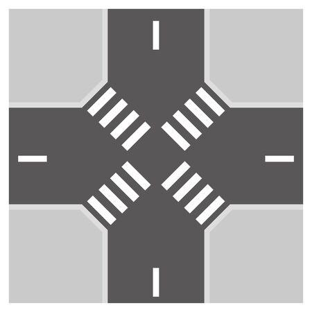 Street intersection isolated vector illustration