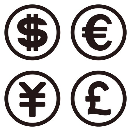 Dollar, euro, yen, isolated vector icon