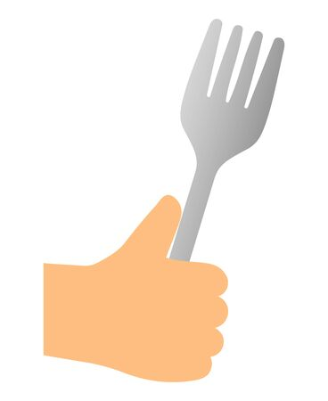Fork held in hand isolated vector illustration