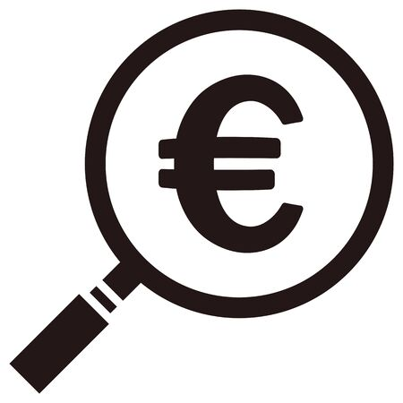 Euro mark in a loupe isolated vector illustration