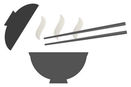 Japanese bowl and chopsticks isolated vector illustration. 向量圖像
