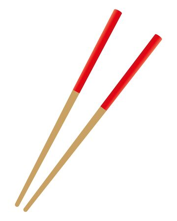 Japanese chopsticks isolated vector illustration.